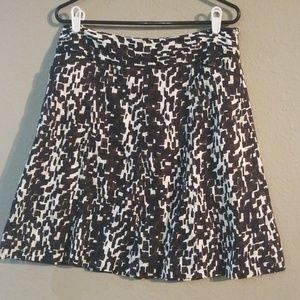 Ann Taylor Black Brown Tan White Size 10 Skirt